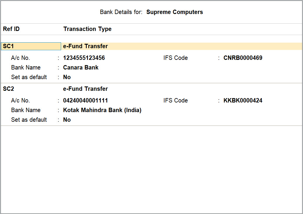 Bank Details Screen in the Bank Ledger in TallyPrime