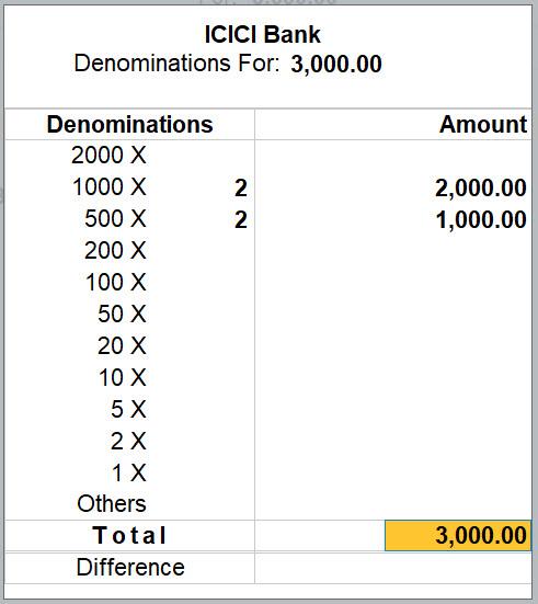Cash Denominations for Bank Ledger in TallyPrime