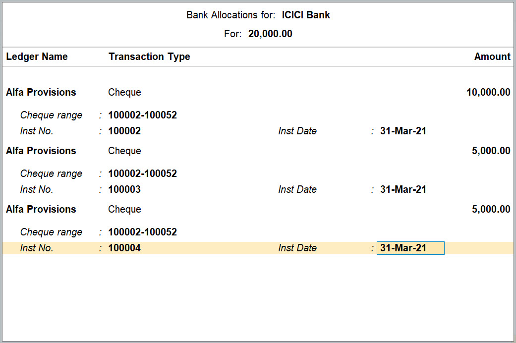 Bank Allocation Screen for Bank Ledger in TallyPrime