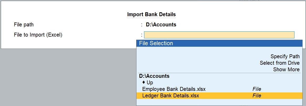 Import Bank Details in TallyPrime