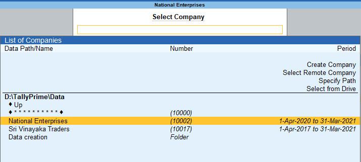 Select a Company