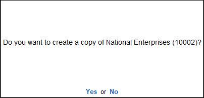 Create a Copy of TallyVault Company