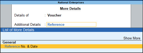 Set Reference No. in Journal Voucher