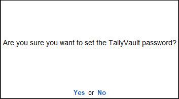 Set TallyVault Password