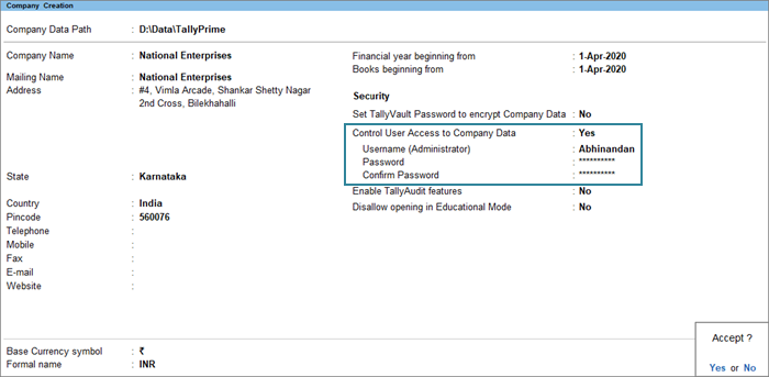 The Company Creation Screen with Enabled User Access for Company Data Feature in TallyPrime