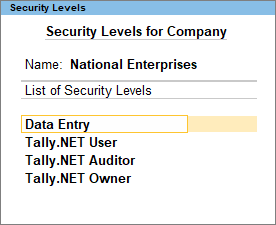The Security Levels for Company Screen in TallyPrime
