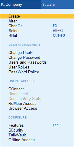 The User Management Screenshot after Enabling User Access for Company Data Feature in Company Creation Screen