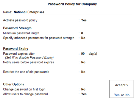 The Password Policy for Company Screen in TallyPrime