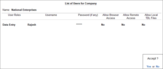 The List of Users for Company Screen with Data Entry User Roles, Username, and Password