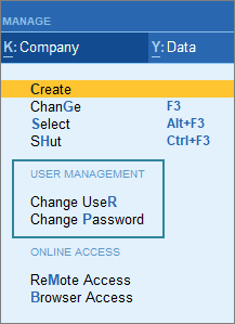 The User Management Screenshot for Change User and Change Password