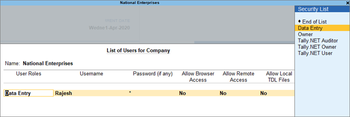 The List of Users for Company Screen for Data Entry User Roles in TallyPrime