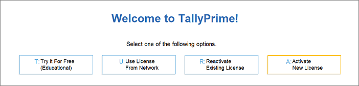 Activate TallyPrime license