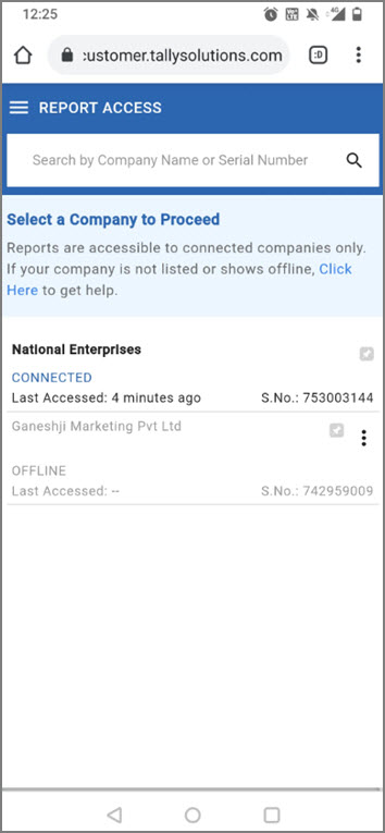 Companies Listed in TallyPrime Reports in Browsers