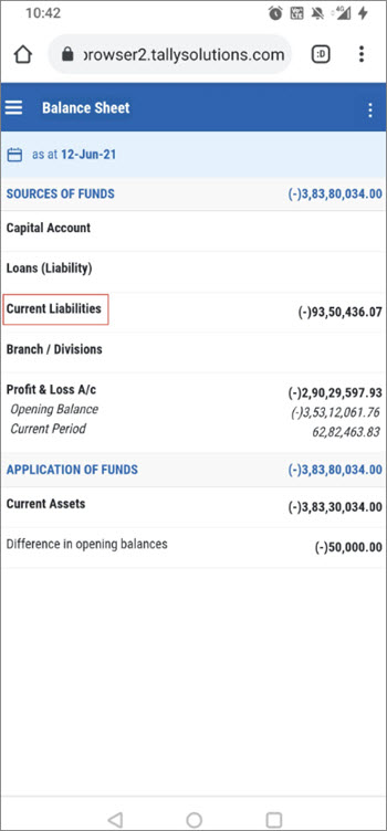 Tap on Current Liabilities in Balance Sheet to View the Report