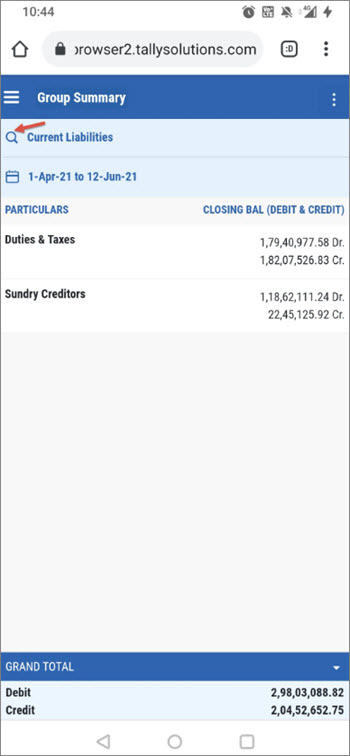 Search for Groups While Viewing Current Liabilities in Browser