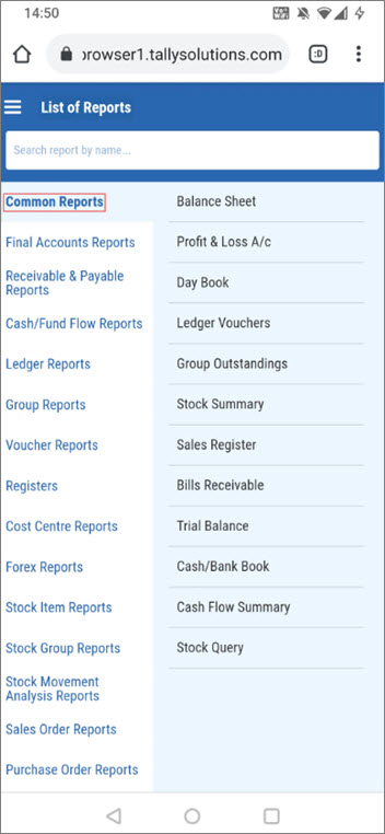 The List of Reports Page - TallyPrime Reports in Browsers