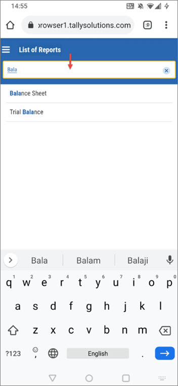 Search Box to Search TallyPrime Reports While Browsing