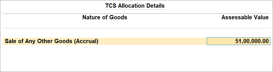 TCS Sales Above Threshold with TCS Nature of Goods (Accrual)