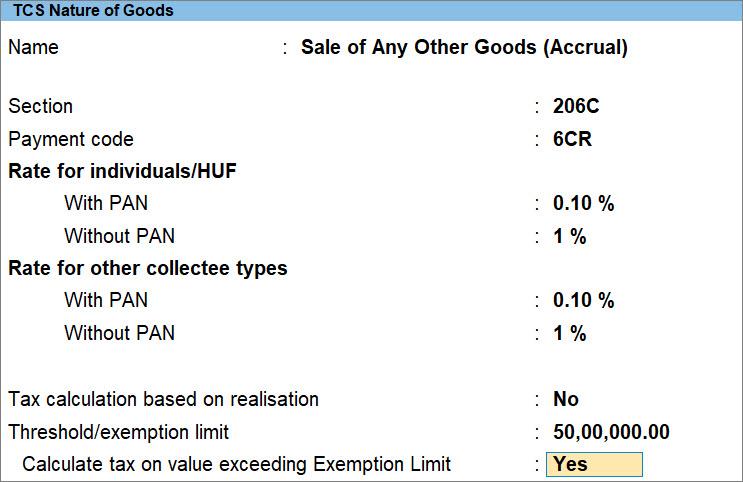 TCS Nature of Goods (Accrual)