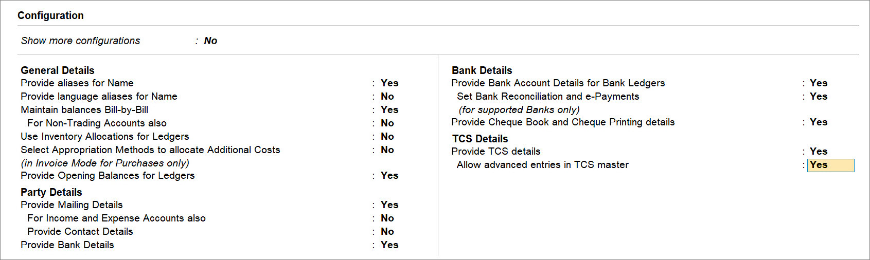 Allow advanced entries in TCS master set to Yes under F12 in Listed Collectee Party Ledger