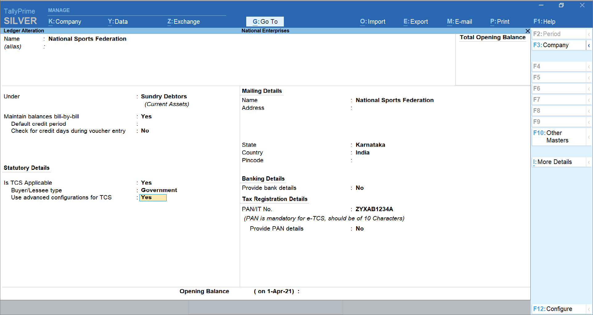 Use advanced configurations for TCS set to Yes in Listed Collectee Party Ledger