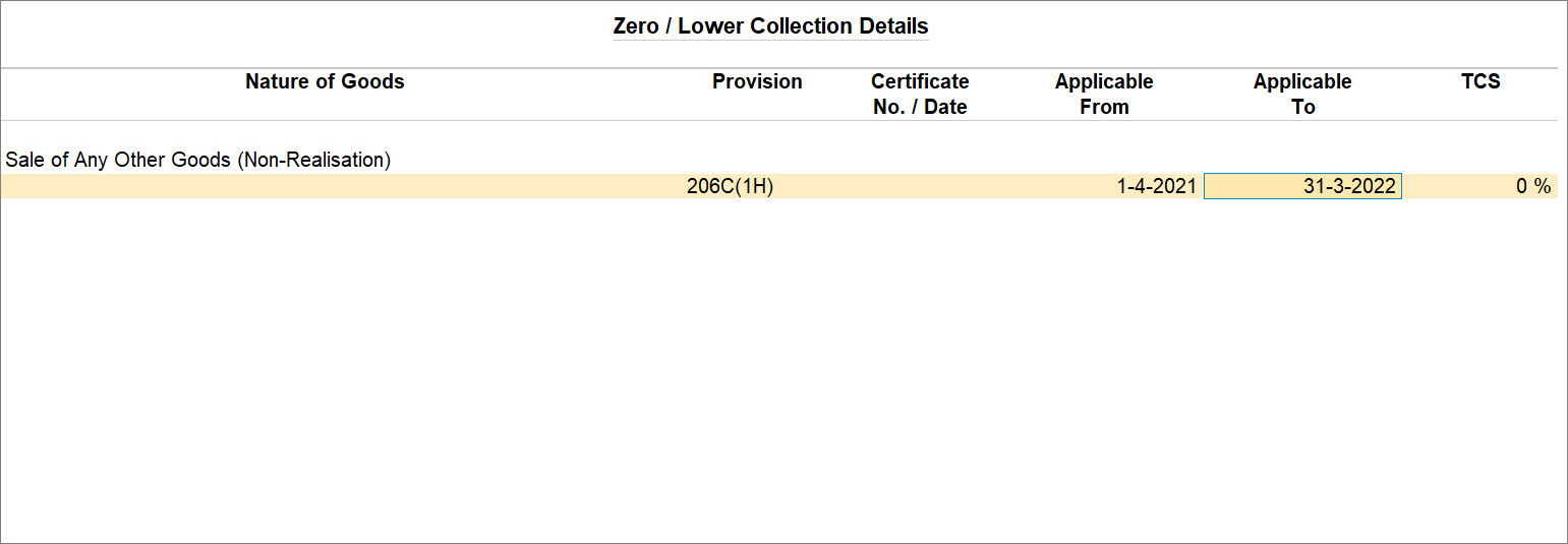 The Zero Lower Collection Details screen in Listed Collectee Party Ledger