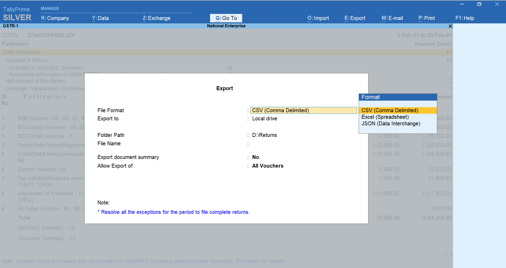 The Export Screen While Exporting Section-Wise CSV Files