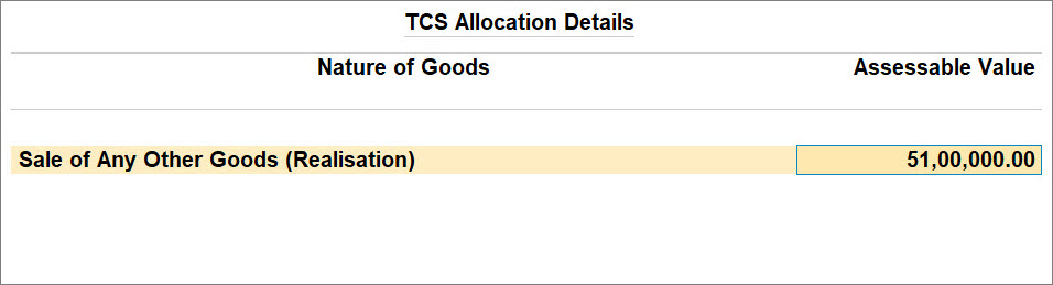 Advance Receipt Over Threshold with TCS Nature of Goods (Realisation)