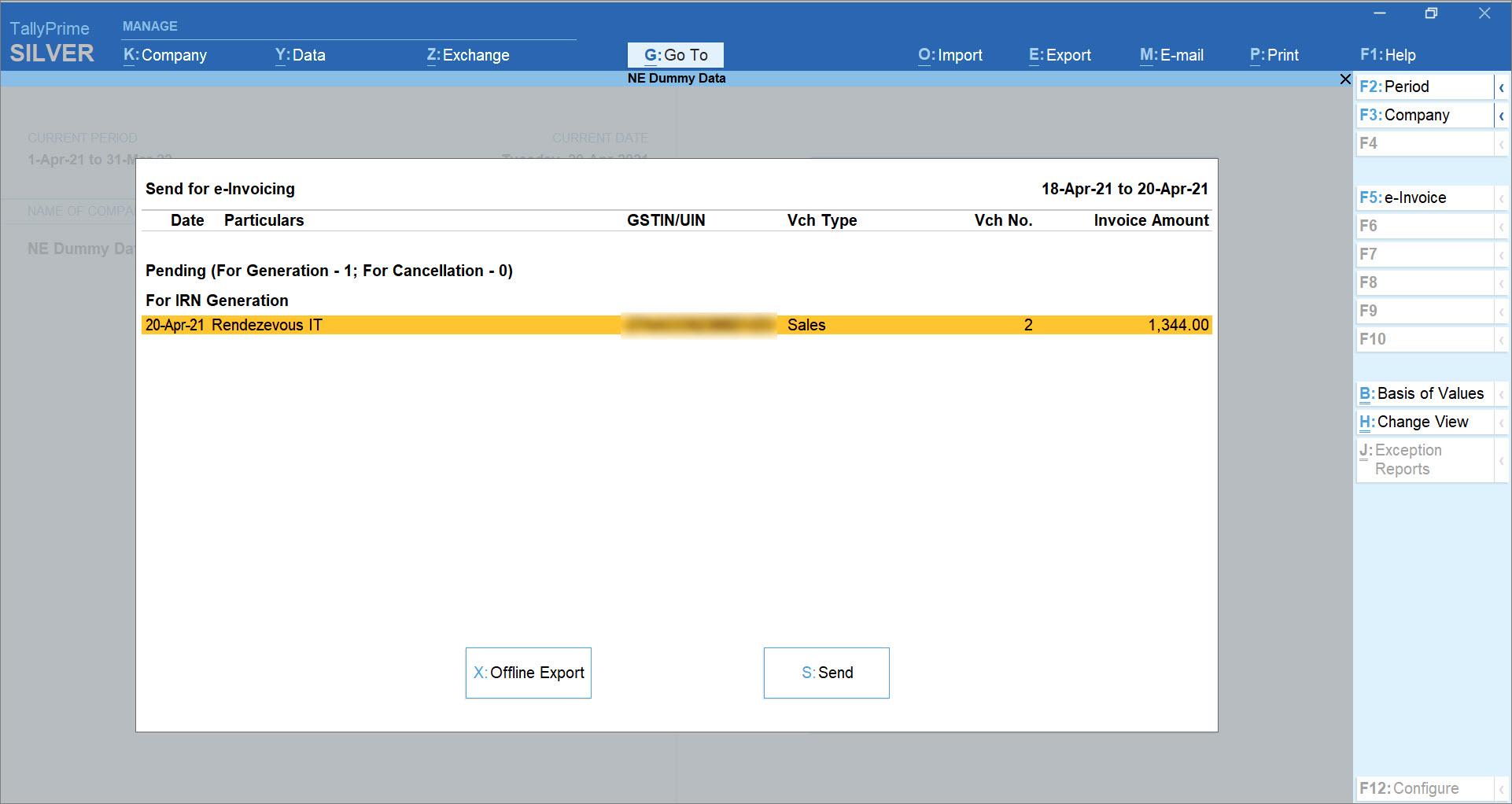 Send for e-Invoicing screen in TallyPrime