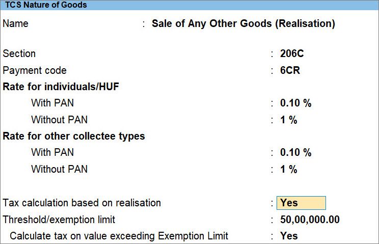 TCS Nature of Goods (Realisation)