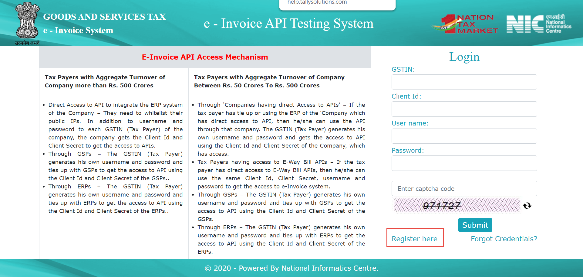The e-Invoice API Testing System Screen on which Users Click Register Here