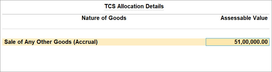 Advance Receipt Over Threshold with TCS Nature of Goods (Accrual)