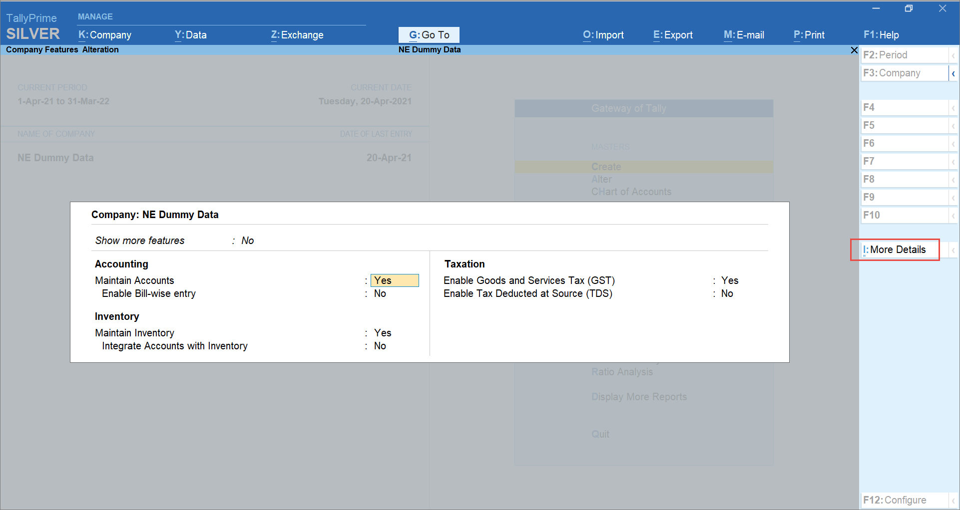 More Details Under the F11 (Company Features) Screen in TallyPrime
