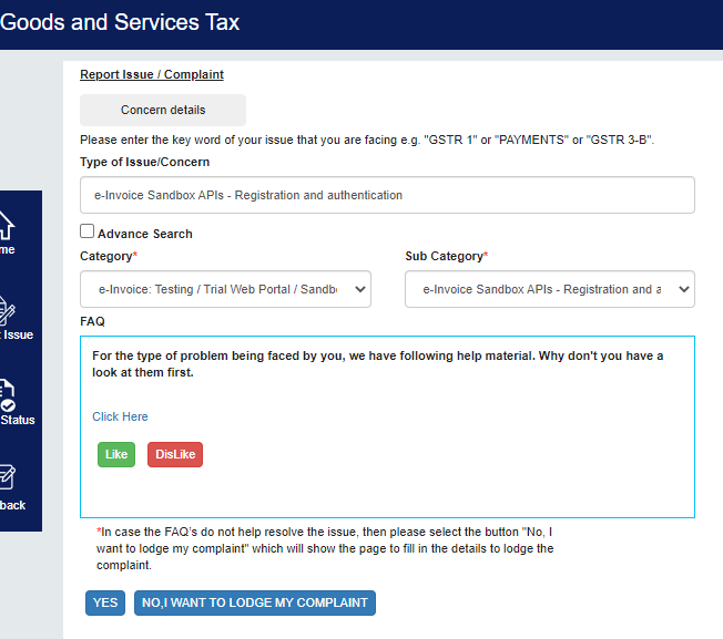 Raising a Ticket on GST Portal after the Sandbox Registration is Failed due to Invalid Mobile No or Email