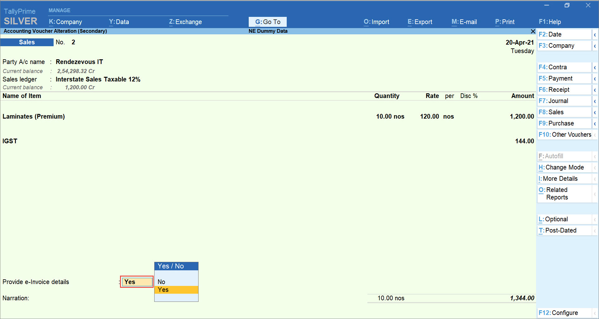 Provide e-Invoice details set to Yes in Sales Transaction in TallyPrime