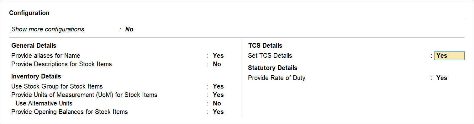 Set TCS Details to Yes in Stock Item Master in TallyPrime for Stock Items Used in TCS Transactions