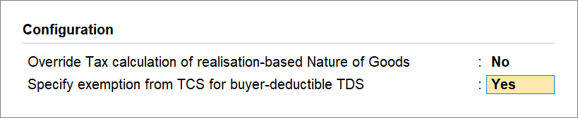 Specify exemption from TCS for buyer-deductibe TCS set to Yes