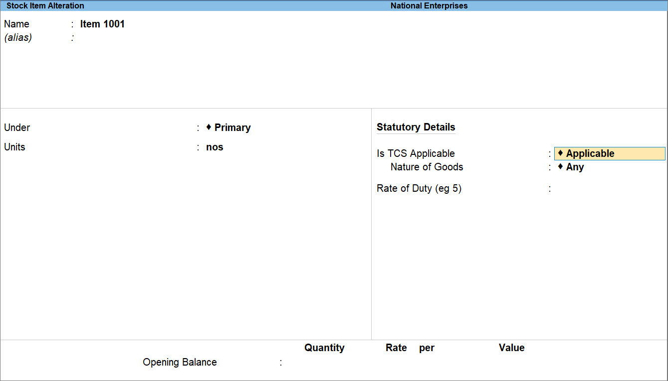 Statutory Details for TCS in Stock Item in TallyPrime