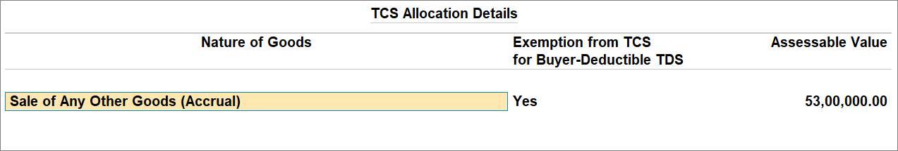TCS Allocation Details for Buyer-Deductible TCS