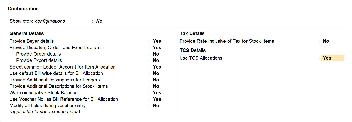 Use TCS Allocations Set to Yes for a Sales Transaction Under Threshold Limit in TallyPrime