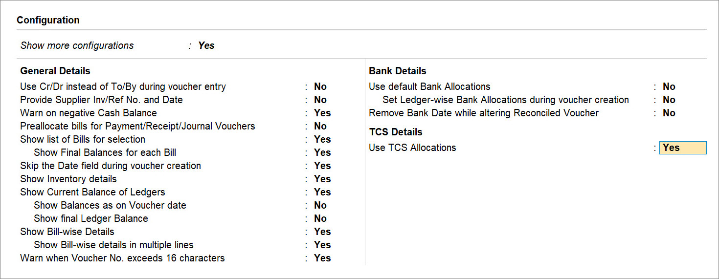 Use TCS Allocations set to Yes in F12 (Configure) of Advance Receipt Under TCS