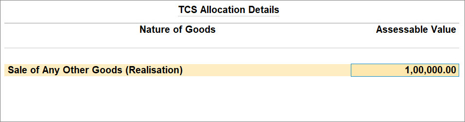 TCS Allocation Details with the Selected TCS Nature of Goods