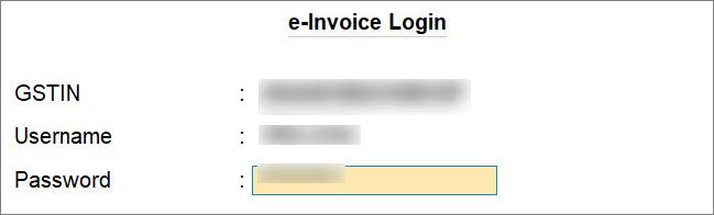 e-Invoice Login Screen in TallyPrime