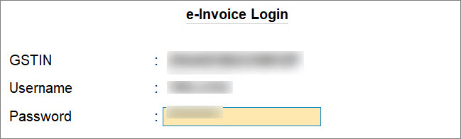 e-Invoice Login Screen in TallyPrime while Performing Get GSTIN/UIN for Single Party