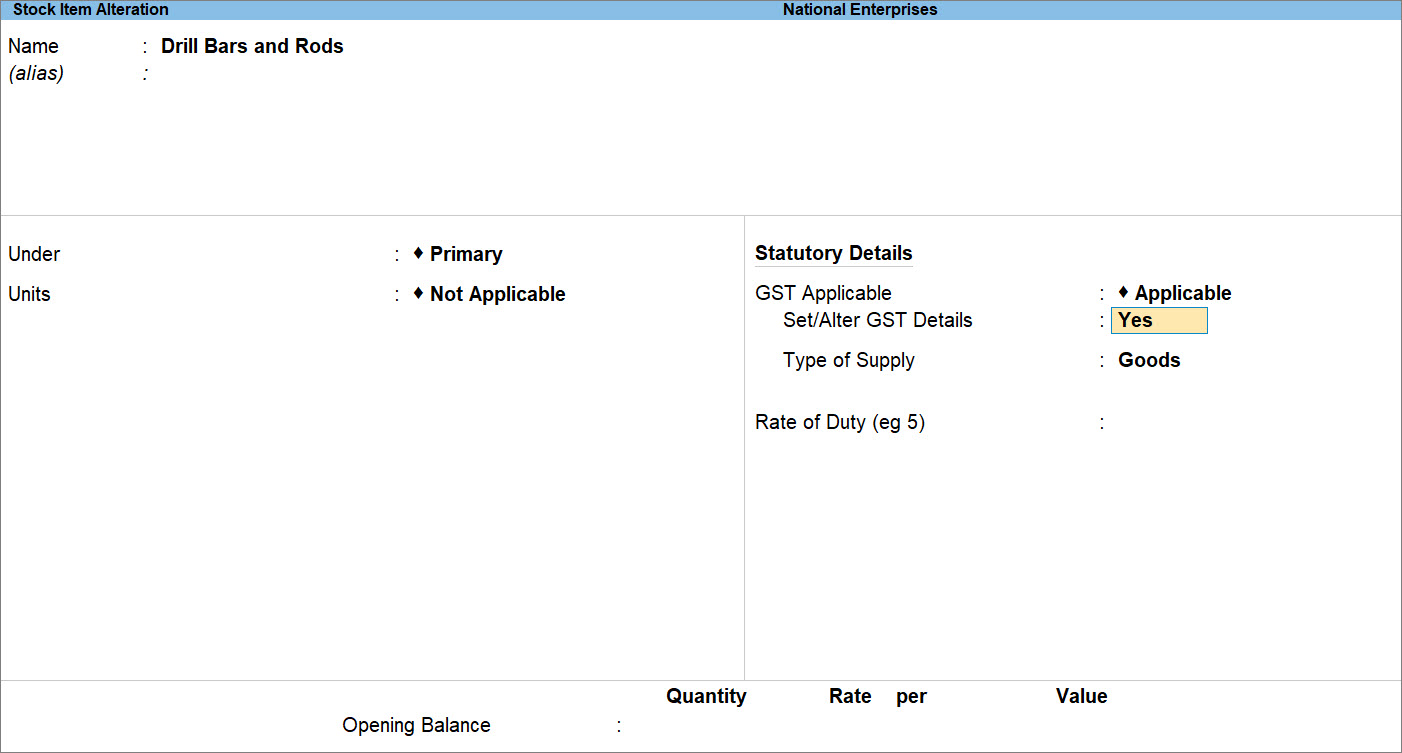 Set/Alter GST Details Set to Yes in Stock Item Alteration Screen in TallyPrime