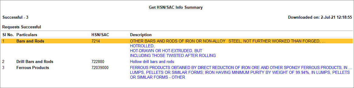 Press Alt+F5 to View Complete Description of Stock Items in Get HSN or SAC Info Summary in TallyPrime