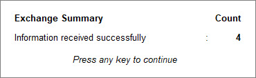Exchange Summary in TallyPrime with the number of transactions for which GSTIN Info is received successfully