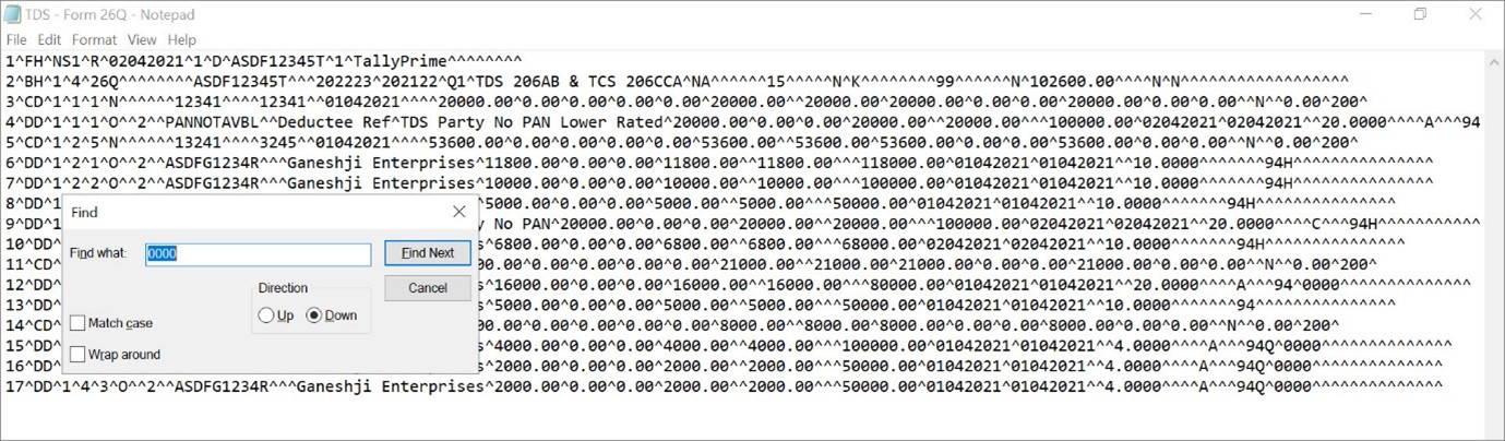 Finding Transactions with 0000 in Form 26Q in TallyPrime.