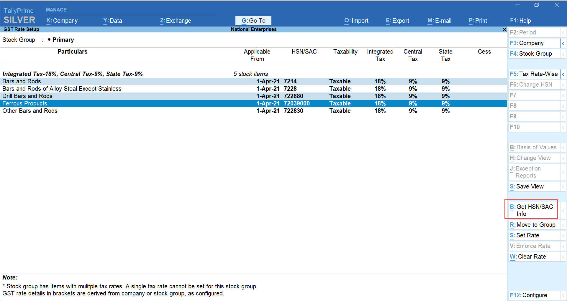 Get HSN or SAC Info Summary at the Company Level for HSN Validation in TallyPrime