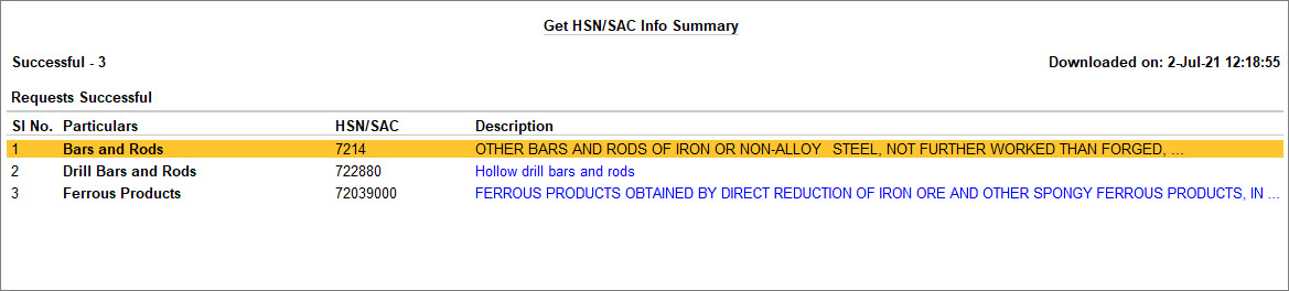 Get HSN or SAC Info Summary in TallyPrime